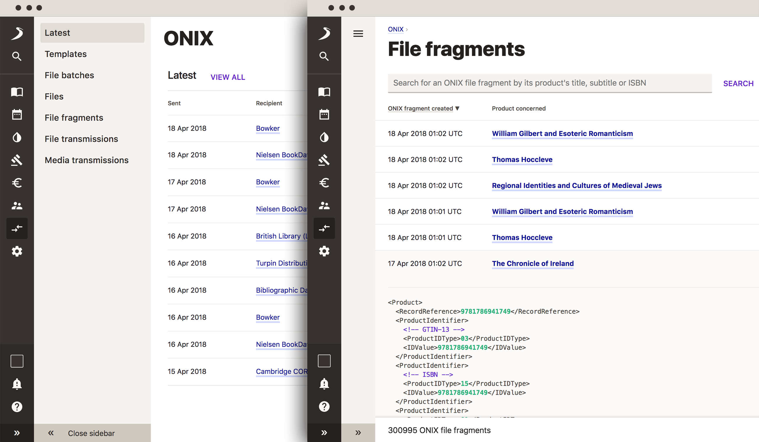 A laptop showing the preview of an ONIX feed, with an iPad in landscape orientation, showing part of an ONIX transfer template