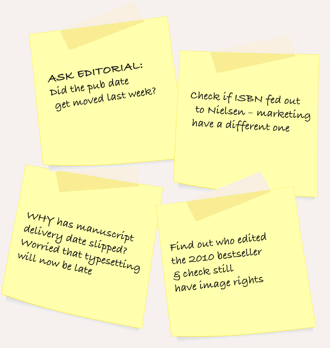 Some post it notes with worried thoughts from editorial assistants