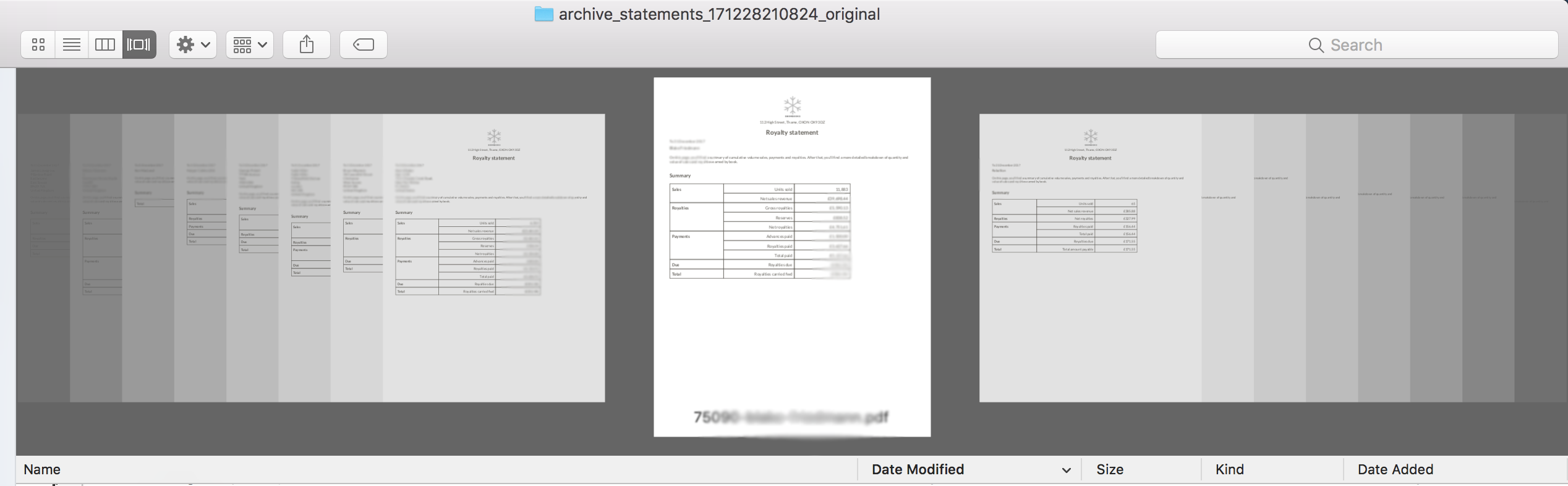 A screenshot of Finder on a Mac showing a sheaf of automatically generated royalty statements. Consonance's PDFs also open on a Windows machine!